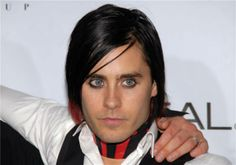 The 'Red-and-Black look' stare: Jared Leto attends the Fashion Rocks! live concert at Radio City Music Hall in New York on Sept. 7, 2006.   <3 this too