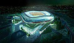 """Avec une capacité de 35 000 places, le stade Allianz Riviera à Nice (France), est le premier """"écostadium"""". Réalisation du cabinet d'architecture Wilmotte. Il est donc  exemplaire en matière de développement durable. Autre vue  : http://projets-architecte-urbanisme.fr/images-archi/2013/04/allianz-riviera-nice.jpg"""