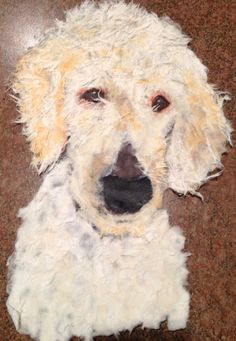 Ollie created from torn paper. Pet Portrait Artist Robin Panzer