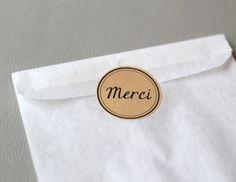 tiquettes autocollantes rondes merci x12 kraft sticker merci mariage - Tiquettes Autocollantes Mariage