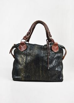18e09010126b4 Pauric Sweeney Gunmetal Grey & Brown Python Leather