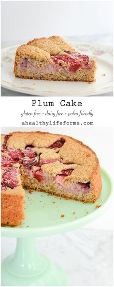 Plum Cake {gluten free + paleo friendly is a moist delicious cake packed full of fresh fruit.  Gluten Free, Dairy Free, Paleo Friendly with zero granulated sugar this cake is a great way to enjoy the other summer stone fruit, plums. - A Healthy Life For Me