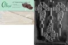 Cybrtrayd Fancy Cross Lolly Chocolate Candy Mold with 25 45Inch Lollipop Sticks and Exclusive Cybrtrayd Copyrighted Chocolate Molding Instructions *** You can get more details by clicking on the affiliate link Amazon.com.