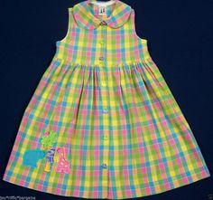 Austin & Ashley Plaid Sleeveless Seersucker Dress Girls Size 6 Animal Applique  #AustinAshley #CasualEveryday