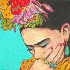 FRIDA DENKT  Reeds 50% korting, geen behoefte aan coupon.  De kleuren en de geest van Mexico bij u thuis brengen en kruid omhoog uw muren!  Deze mooie print van de getalenteerde Mexicaanse kunstenaar, Frida Kahlo is van mijn oorspronkelijke schilderij geïnspireerd door Frida de liefde van inheemse Mexicaanse kostuum en sieraden.  Deze print van Frida meet 8 x 8 en is gecentreerd op mat papier van 8,5 x 11 kwaliteit met witte rand.  Ondertekend en gedateerd door de kunstenaar Karen Haring…
