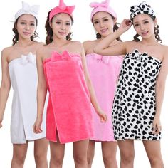 Bathrobe Women 2016 Winter Hot Sale Soft Flannel Casual Solid Sexy Warm Together Bow Headband Women's Robes Bath Robe Pijamas Women, Bath Robes For Women, Jolie Lingerie, Towel Wrap, Nightwear, Kids Outfits, Kids Fashion, Strapless Dress, Fashion Sewing