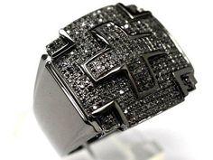 10K BLACK GOLD DIAMOND MENS CROSS CHAIN RING CHARM NEW