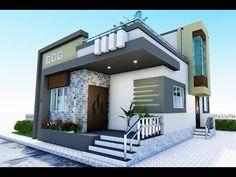 Simple House Exterior Design, House Fence Design, Small House Exteriors, Small Modern House Plans, Modern Small House Design, Small House Interior Design, Village House Design, Duplex House Design, 2bhk House Plan