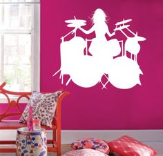 Girl Drummer Decal Sticker Wall Mural Drumset Drum Drums *** For more information, visit image link. (Note:Amazon affiliate link) #WallStickersandMurals