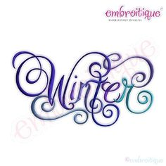 Winter Calligraphy Script, Large - 6 Sizes!   Words and Phrases   Machine Embroidery Designs   SWAKembroidery.com Embroitique