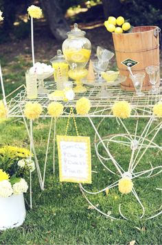 ice cream social birthday party - love the yellow
