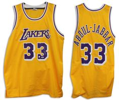 5194ec088 ... Kareem Abdul-Jabbar Los Angeles Lakers Autographed Gold Jersey - PSADNA  ...