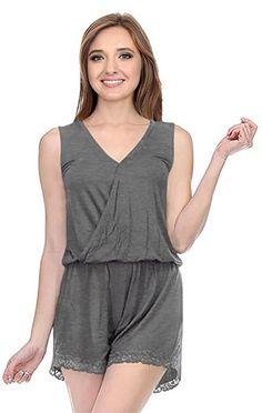 6522f49d0ad  12.99 Amazon.com  Simlu Womens Sleeveless Casual Short Pant Lace Trim  Surplice Neck Jumpsuit