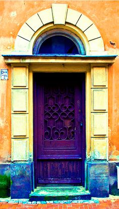 Purple Doorway with tan and blue