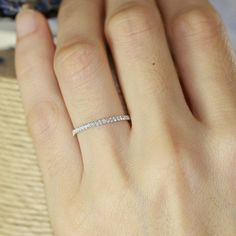 Petite Diamond Wedding Ring in 14k White Gold Half Eternity Band Women Wedding Band Diamond Anniversary Ring Stackable Ring