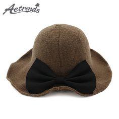 db001d00fba  AETRENDS  2017 New Winter Wide Brim Wool Bucket Hat Women s Crimping Fedora  Bow Tie