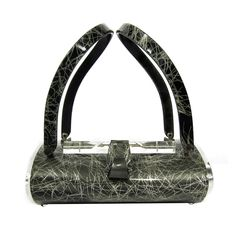 Vintage 1950's,Fabulous and rare steel gray confetti handbag with flower cut clear lid and sides.