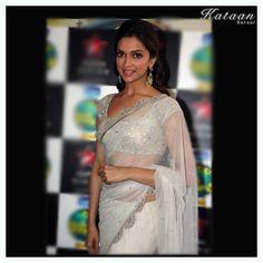 #Deepika flaunting a transparent White saree