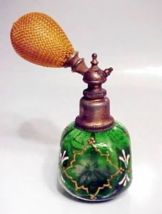 "ANTIQUE VICTORIAN PERFUME BOTTLE CZECHOSLOVAKIA 7"" PERFUME BOTTLE ATOMIZER Perfume Bottle Atomizer"