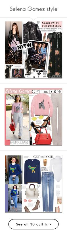 """""""Selena Gomez style"""" by mery90 ❤ liked on Polyvore featuring Coach 1941, Coach, Bobbi Brown Cosmetics, GetTheLook, NYFW, selenagomez, CelebrityStyle, Akris, Christian Louboutin and Quay"""