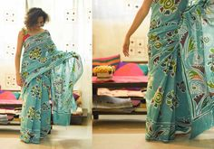 Cotton Sarees - Batik- Sea Green And Big Floral Designs And Swirls On The Border By Suta PC 17835 - 2