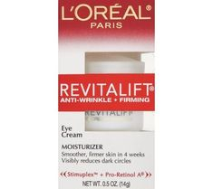 L'Oreal RevitaLift Moisturizer,Anti-Wrinkle + Firming, Eye Cream - 0.5 oz Smoother, firmer skin in 4 weeks. Visibly reduces dark circles. Stimuplex + Pro-Retinol A. Why is RevitaLift Anti-Wrinkle + Firming Right for Me? With age, the natural lifters that are present in the skin and responsible for its firmness and youthful appearance begin to break down. As a result, skin looks and feels less firm and wrinkles are more visible.