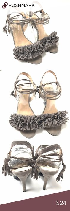 "Chase Chloe Fringe Heels Lace Up Ankle Size 8.5 Chase & Chloe Lace Up Ankle Suede Heels Fringe Open Toe Size 8.5 Heel is 4.5"" High Condition: Excellent pre-owned condition. chase & chloe Shoes Heels"