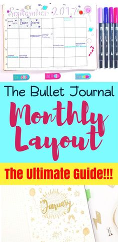 This fantastic reference teaches you how to set up the monthly layout section in your bullet journal! Suggests pages you should try in your bujo, including cover page, calendar, and various trackers and collections. Introduces the use of a 'month in revie