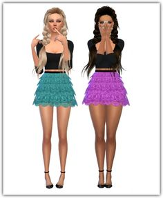 Maimouth: Lace Tiered Skirt • Sims 4 Downloads