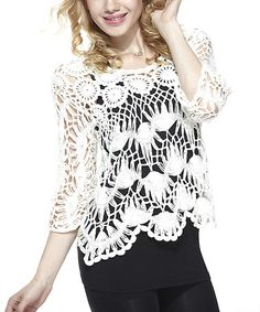 Loving this White Hairpin Crochet Top on #zulily! #zulilyfinds