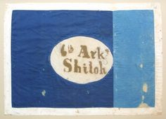 Hardee pattern regimental flag of the 6th Ark. I wonder if the two tone blue as by design or necessity?