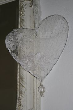 Lace and wire heart