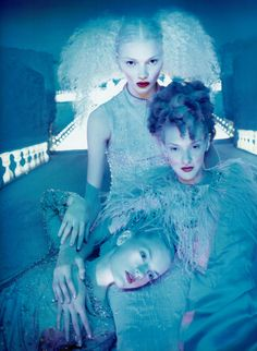 "Guinevere van Seenus in Chanel, Jodie Kidd and Chrystele Saint-Louis Augustin in Valentino Fall 1995 Haute Couture for ""If the Couture Could Talk"" by David Lachapelle, Vogue Paris September 1995."