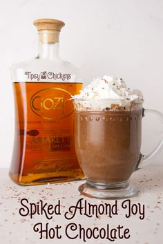 Turn the chocolate, coconut and almond flavors of the Almond Joy into a decadent spiked hot chocolate for adults Spiked Hot Chocolate, Chocolate Cocktails, Best Chocolate Desserts, Winter Cocktails, Holiday Drinks, Holiday Treats, Holiday Recipes, Coconut Vodka, Christmas Tea