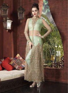 Party Sea Green Net Designer Salwar Suit