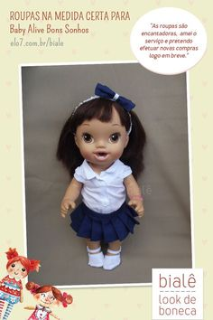 c585e3ac1 Roupas para Baby Alive  na medida certa para a boneca Bons Sonhos. Confira!