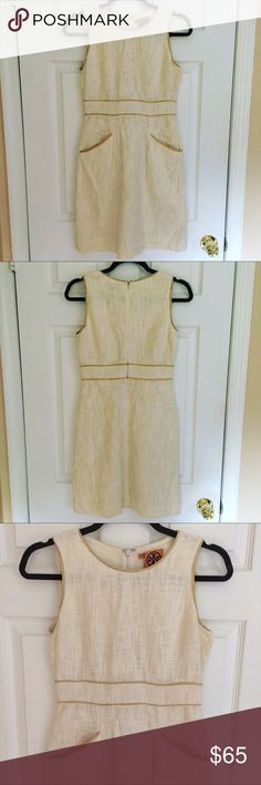 Tory Burch Dress Absolutely gorgeous leather trim Tory Burch dress size 2. Looks amazing dressed up with a pair of heels or dressed down with a pair of flats. Excellent condition, only needs to be ironed. Tory Burch Dresses Mini