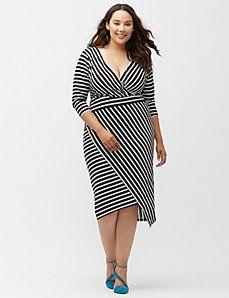 Simply Chic matte Jersey bias stripe dress