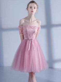 Pink Short Sleeves Sashes Homecoming Dress