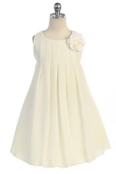 Off White Elegant Chiffon Sleeveless Bubbled Hem Short Flower Girl Dress A3329-OW