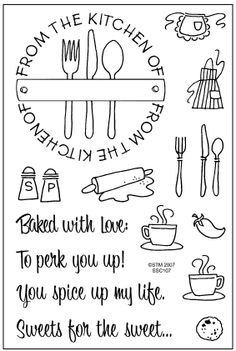 Can you imagine the cute cook book/recipe cards you could make Stampendous : Perfectly Clear Stamps : FROM THE KITCHEN
