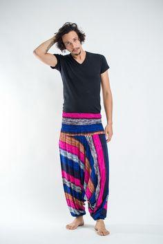 d43b890710a Boho Pink Striped Drop Crotch Men s. Harem Pants ...