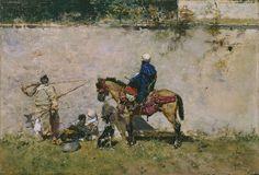 Marroquíes, Mariano Fortuny y Marsal. Óleo sobre tabla, 13 x 19 cm. 1872 – 1874. Cuadro de gabinete.