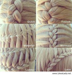 Six types of three strand braids