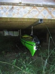 How I plan on storing my kayak. Under Deck Kayak Storage - contemporary - hooks and hangers - other metro - Rotary Products Inc. For the hardware do a search for 'box track' and 'box track hangers'. Under Deck Storage, Kayak Storage Rack, Kayak Rack, Outdoor Storage, Boat Storage, Rolling Storage, Outdoor Projects, Home Projects, Canoa Kayak