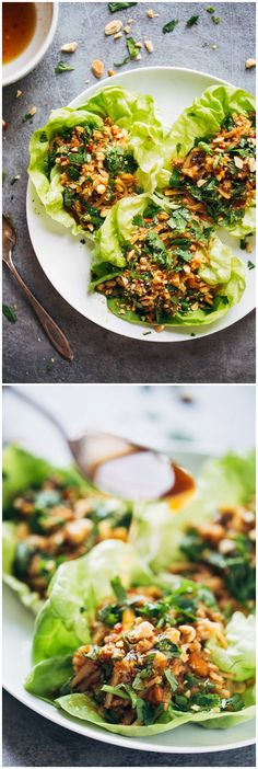 PEANUT CHICKEN LETTUCE WRAPS WITH GINGER GARLIC  SAUCE  http://www.recipenatural.com/peanut-chicken-lettuce-wraps-with-ginger-garlic-sauce/