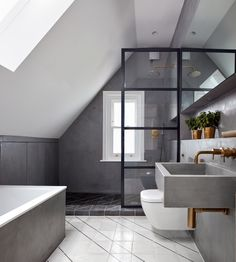 Merrett Houmøller Architects has renovated and extended a house in north London using a consistent palette of simple materials and repeated patterns. Rustic Bathroom Decor, Rustic Bathrooms, Bathroom Styling, Modern Bathroom, Industrial Bathroom, Bathroom Interior, Industrial Design, Architects London, London Townhouse