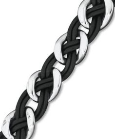 Men's Stainless Steel and Leather Bracelet, Braided Link Bracelet | macys.com