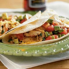 Soft Chicken Tacos from Delish.com #protein #vegetables #dairy #myplate