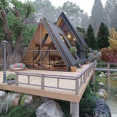 A Frame House Plans, A Frame Cabin, Tiny House Cabin, Cabin Homes, Tiny Houses, Cob Houses, Cabin Design, Modern House Design, Casas Containers